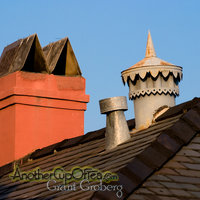 Painted Chimney and Old Steel Roof Ventilator