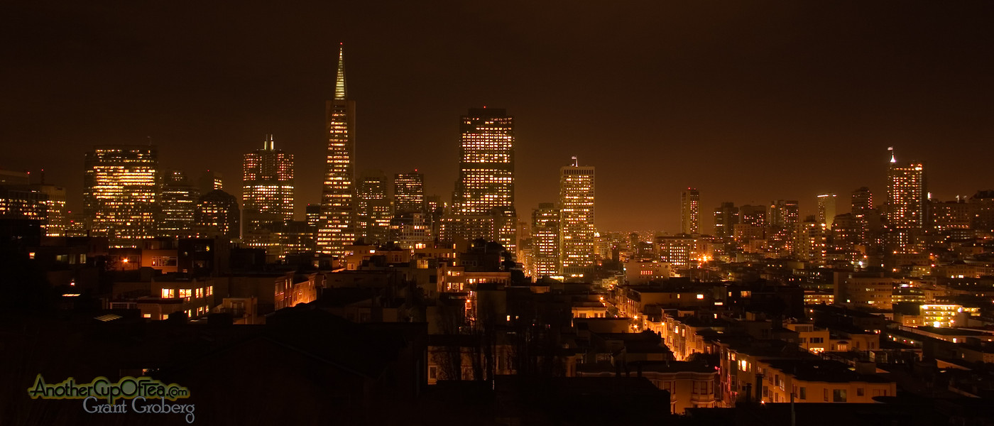 San Francisco at night from telegraph hill